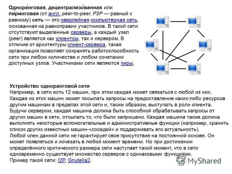 Однора́нговая, децентрализо́ванная или пи́ринговая (от англ. peer-to-peer, P2P равный к равному) сеть это оверлейная компьютерная сеть, основанная на равноправии участников. В такой сети отсутствуют выделенные серверы, а каждый узел (peer) является к