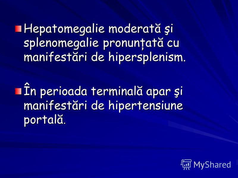 Hepatomegalie moderată şi splenomegalie pronunţată cu manifestări de hipersplenism. În perioada terminală apar şi manifestări de hipertensiune portală.
