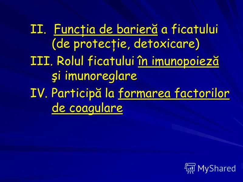 II. Funcţia de barieră a ficatului (de protecţie, detoxicare) III. Rolul ficatului în imunopoieză şi imunoreglare IV. Participă la formarea factorilor de coagulare