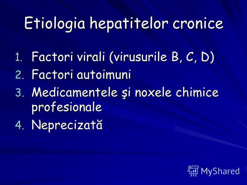 Etiologia hepatitelor cronice 1. Factori virali (virusurile B, C, D) 2. Factori autoimuni 3. Medicamentele şi noxele chimice profesionale 4. Neprecizată