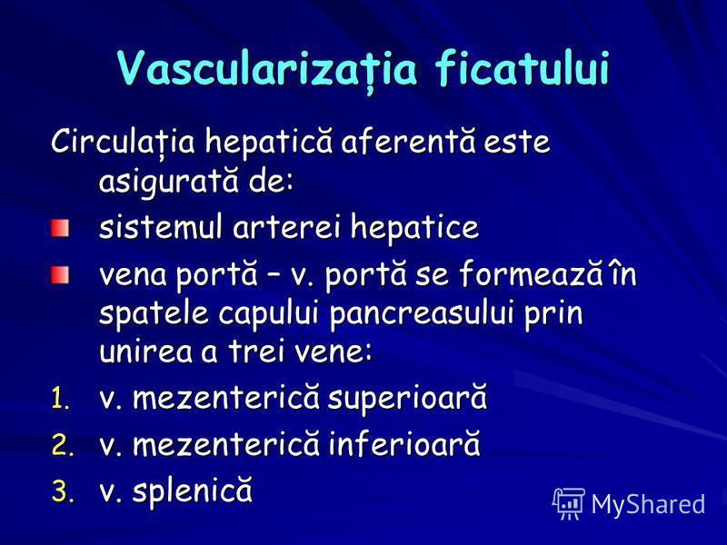 Vascularizaţia ficatului Circulaţia hepatică aferentă este asigurată de: sistemul arterei hepatice vena portă – v. portă se formează în spatele capului pancreasului prin unirea a trei vene: 1. v. mezenterică superioară 2. v. mezenterică inferioară 3.