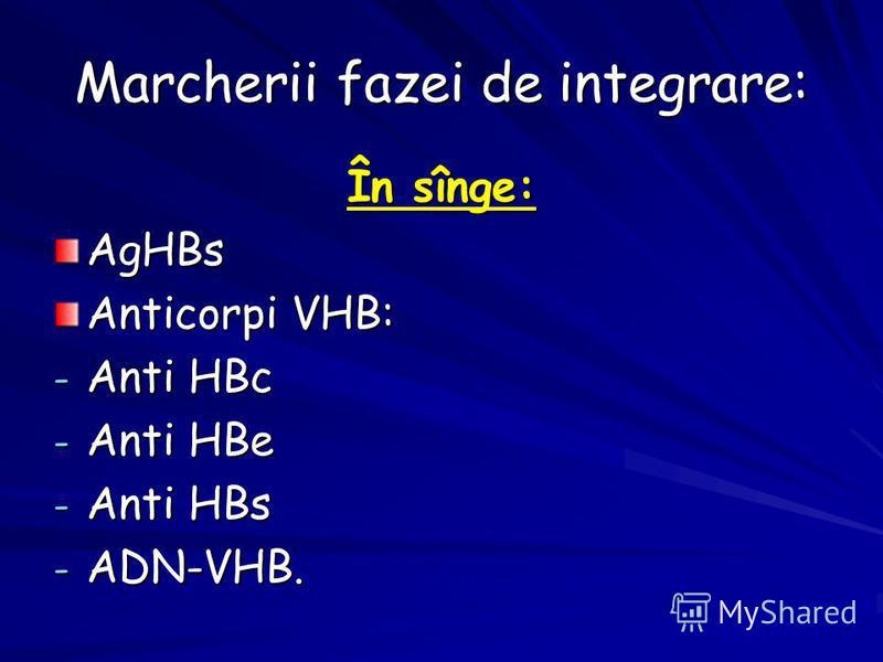 Marcherii fazei de integrare: În sînge: AgHBs Anticorpi VHB: - Anti HBc - Anti HBe - Anti HBs - ADN-VHB.