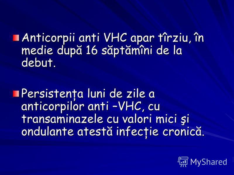 Anticorpii anti VHC apar tîrziu, în medie după 16 săptămîni de la debut. Persistenţa luni de zile a anticorpilor anti –VHC, cu transaminazele cu valori mici şi ondulante atestă infecţie cronică.