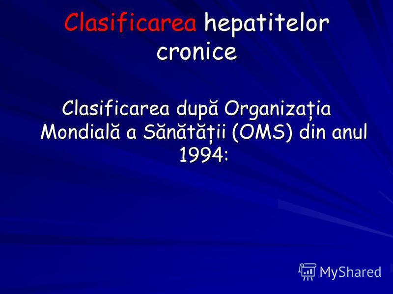 Clasificarea hepatitelor cronice Clasificarea după Organizaţia Mondială a Sănătăţii (OMS) din anul 1994: