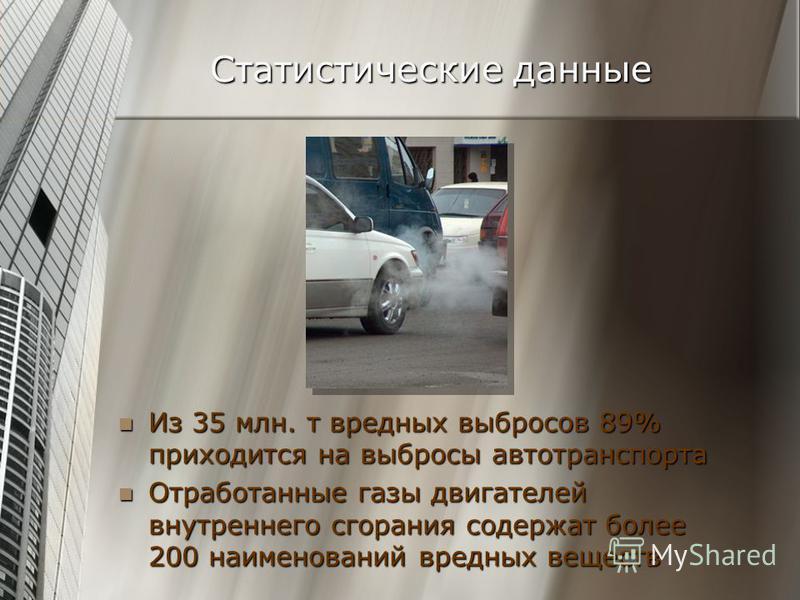 Из 35 млн. т вредных выбросов 89% приходится на выбросы автотранспорта Из 35 млн. т вредных выбросов 89% приходится на выбросы автотранспорта Отработанные газы двигателей внутреннего сгорания содержат более 200 наименований вредных веществ Отработанн
