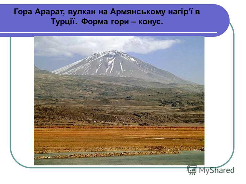 Гора Арарат, вулкан на Армянському нагірї в Турції. Форма гори – конус.