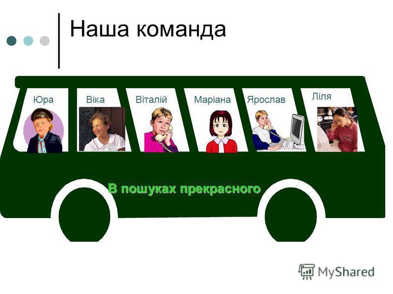 Наша команда В пошуках прекрасного ЮраВікаВіталійМаріанаЯрослав Ліля