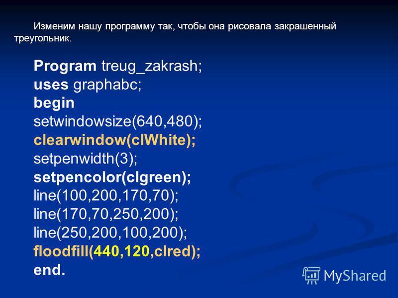Изменим нашу программу так, чтобы она рисовала закрашенный треугольник. Program treug_zakrash; uses graphabc; begin setwindowsize(640,480); clearwindow(clWhite); setpenwidth(3); setpencolor(clgreen); line(100,200,170,70); line(170,70,250,200); line(2