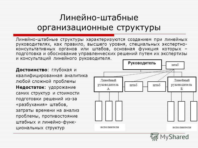 Линейно-штабные структуры характеризуются созданием при линейных руководителях, как правило, высшего уровня, специальных экспертно- консультативных органов или штабов, основная функция которых – подготовка и обоснование управленческих решений путем и