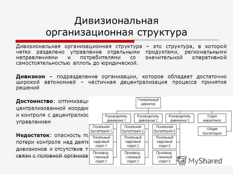 Дивизиональная организационная структура Дивизиональная организационная структура – это структура, в которой четко разделено управление отдельными продуктами, региональными направлениями и потребителями со значительной оперативной самостоятельностью