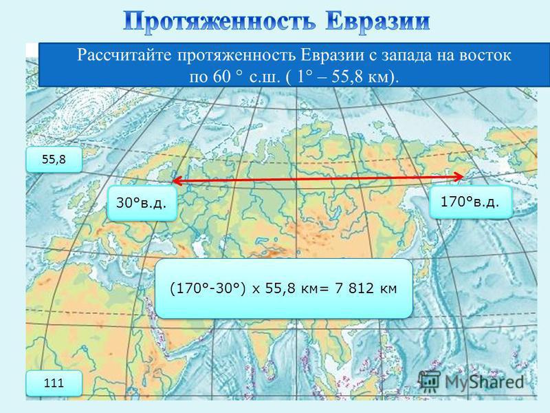 Рассчитайте протяженность Евразии с запада на восток по 60 ° с.ш. ( 1 ° – 55,8 км). 30°в.д. 170°в.д. (170°-30°) х 55,8 км= 7 812 км 55,8 111