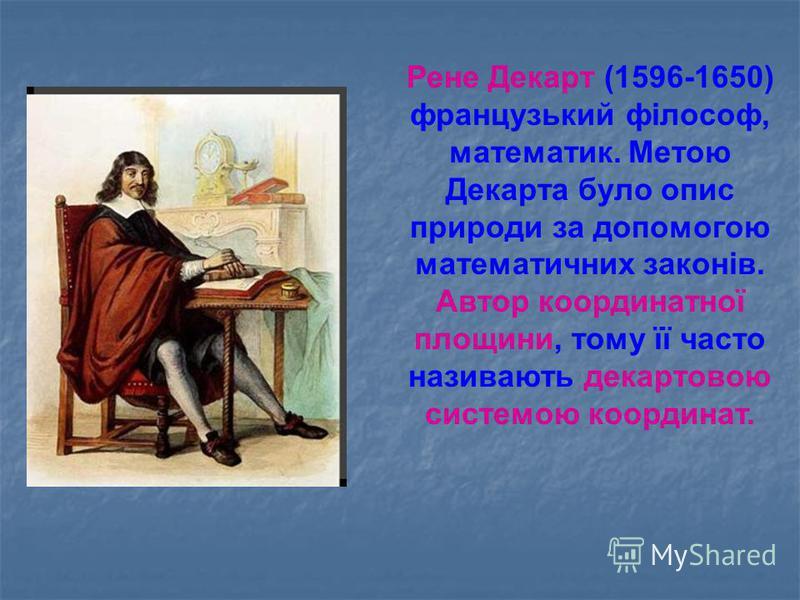 Рене Декарт (1596-1650) французький філософ, математик. Метою Декарта було опис природи за допомогою математичних законів. Автор координатної площини, тому її часто називають декартовою системою координат.