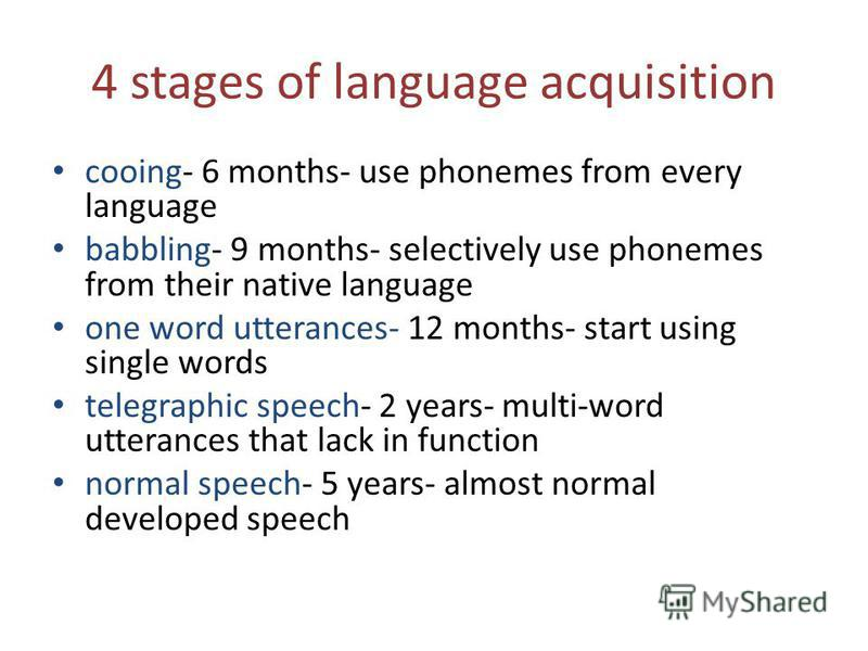 4 stages of language acquisition cooing- 6 months- use phonemes from every language babbling- 9 months- selectively use phonemes from their native language one word utterances- 12 months- start using single words telegraphic speech- 2 years- multi-wo