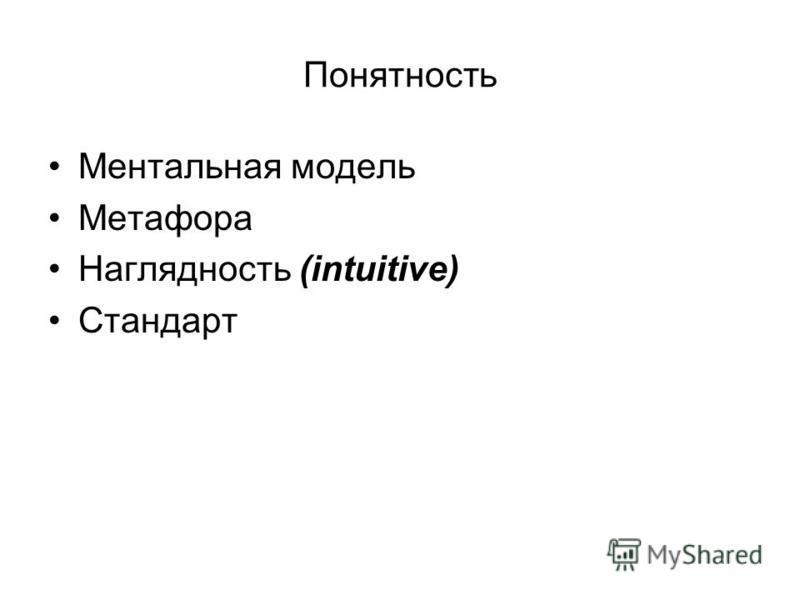 Понятность Ментальная модель Метафора Наглядность (intuitive) Стандарт