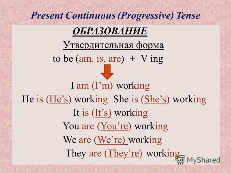 Present Continuous (Progressive) Tense ОБРАЗОВАНИЕ Утвердительная форма to be (am, is, are) + V ing I am (Im) working He is (Hes) working She is (Shes) working It is (Its) working You are (Youre) working We are (Were) working They are (Theyre) workin