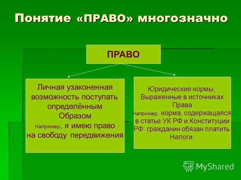 Понятие «ПРАВО» многозначно ПРАВО Личная узаконенная возможность поступать определённым Образом Например, я имею право на свободу передвижения Юридические нормы, Выраженные в источниках Права Например, норма, содержащаяся в статье УК РФ и Конституции