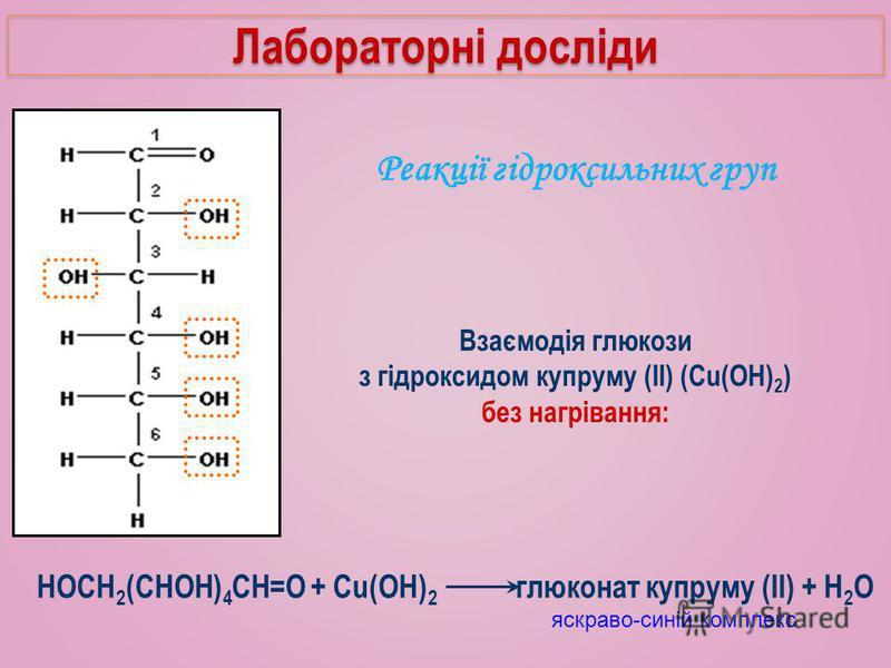 Реакції гідроксильних груп Взаємодія глюкози з гідроксидом купруму (II) (Cu(OH) 2 ) без нагрівання: яскраво-синій комплекс Лабораторні досліди HOCH 2 (CHOH) 4 CH=O + Cu(OH) 2 глюконат купруму (II) + H 2 O