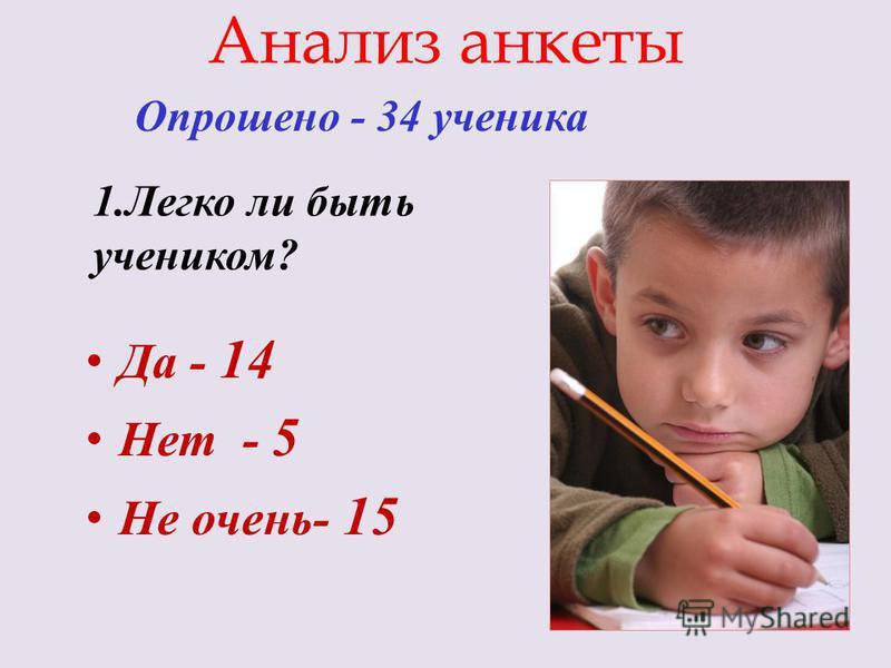 Анализ анкеты Опрошено - 34 ученика Да - 14 Нет - 5 Не очень- 15 1. Легко ли быть учеником?