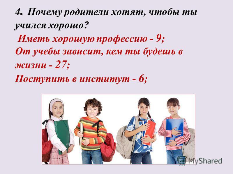 4. Почему родители хотят, чтобы ты учился хорошо? Иметь хорошую профессию - 9 ; От учебы зависит, кем ты будешь в жизни - 27 ; Поступить в институт - 6 ;