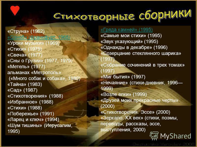 «Струна» (1962) «Озноб» (Франкфурт, 1968) «Уроки музыки» (1969) «Стихи» (1975) «Свеча» (1977) «Сны о Грузии» (1977, 1979) «Метель» (1977) альманах «Метрополь» («Много собак и собака», 1980) «Тайна» (1983) «Сад» (1987) «Стихотворения» (1988) «Избранно