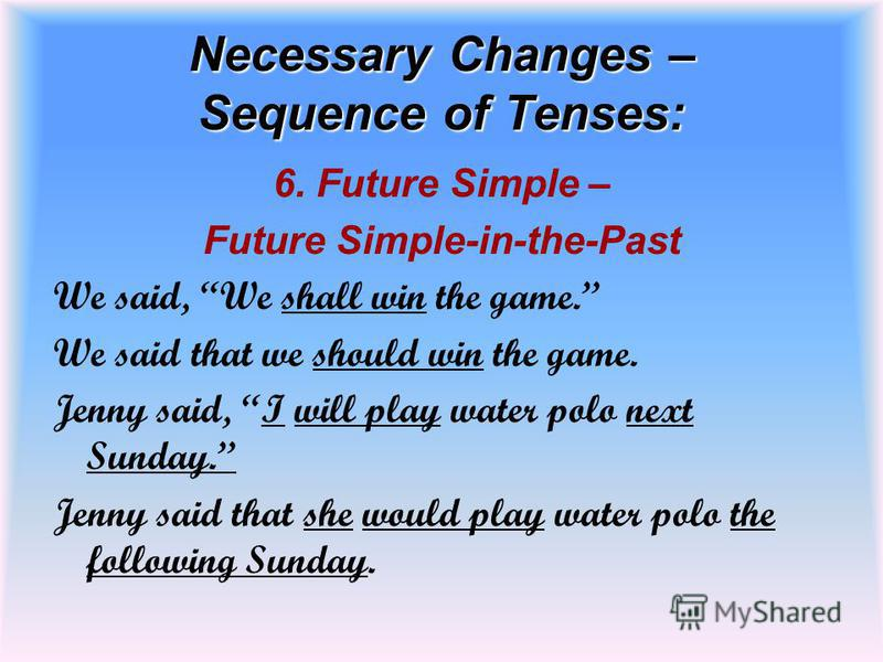 Necessary Changes – Sequence of Tenses: 6. Future Simple – Future Simple-in-the-Past We said, We shall win the game. We said that we should win the game. Jenny said, I will play water polo next Sunday. Jenny said that she would play water polo the fo