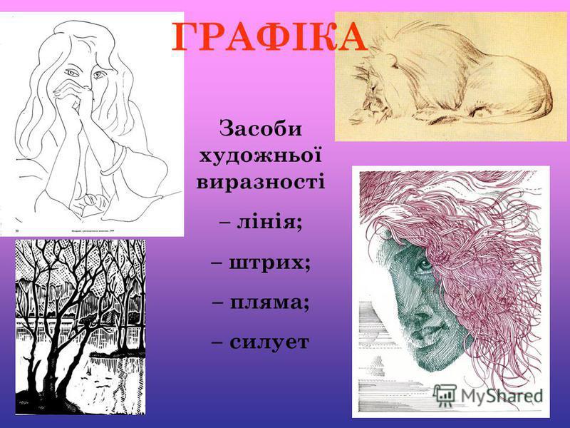 ГРАФІКА Засоби художньої виразності – лінія; – штрих; – пляма; – cилует