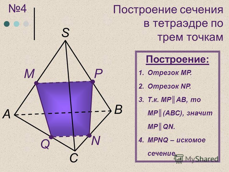 C А M N P B S Построение: 1. Отрезок MP. 2. Отрезок NР. 3.Т.к. MРAB, то MР(АВС), значит MРQN. 4. MРNQ – искомое сечение. 4 Q