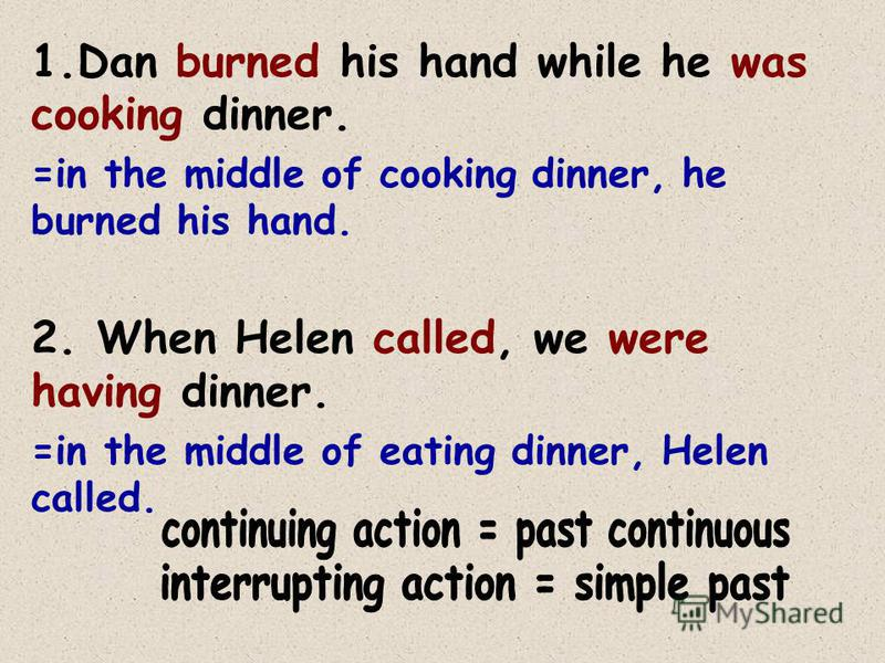Using both tenses together: Sometimes we use both the simple past and the past continuous together to mean... That one action (simple past) interrupted a continuing action (past continuous)