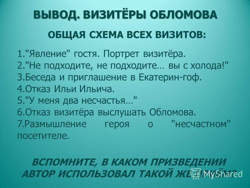 ВЫВОД. ВИЗИТЁРЫ ОБЛОМОВА 1.