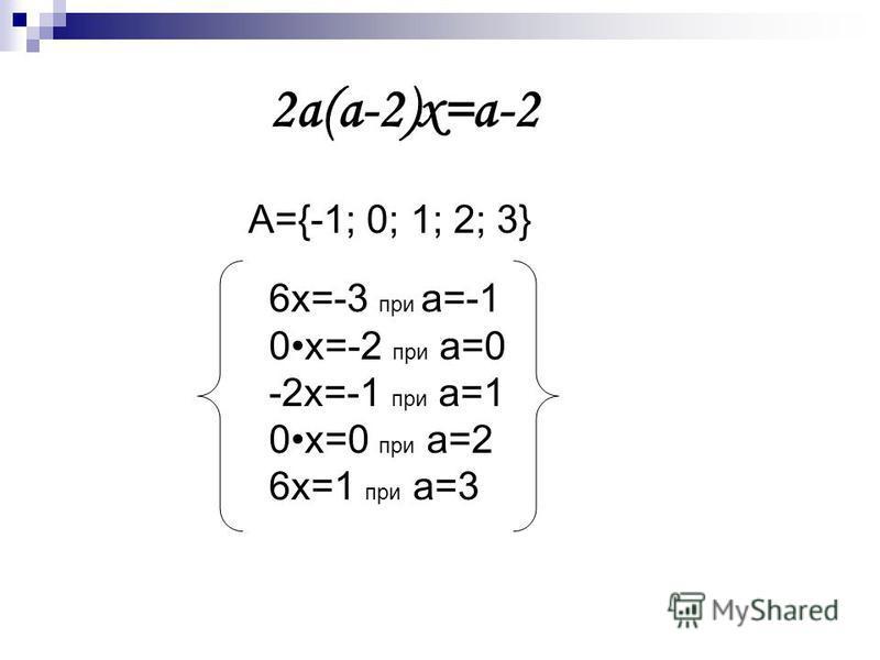 2 а(а-2)х=а-2 А={-1; 0; 1; 2; 3} 6 х=-3 при а=-1 0 х=-2 при а=0 -2 х=-1 при а=1 0 х=0 при а=2 6 х=1 при а=3