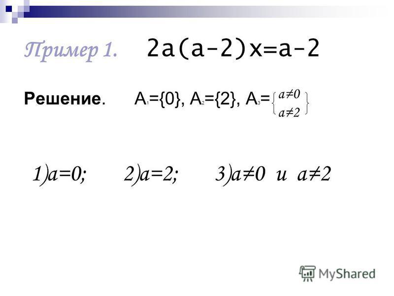 Пример 1. 2 а(а-2)х=а-2 Решение. А 1 ={0}, А 2 ={2}, А 3 = а 0 а 2 1)а=0; 2)а=2; 3)а 0 и а 2