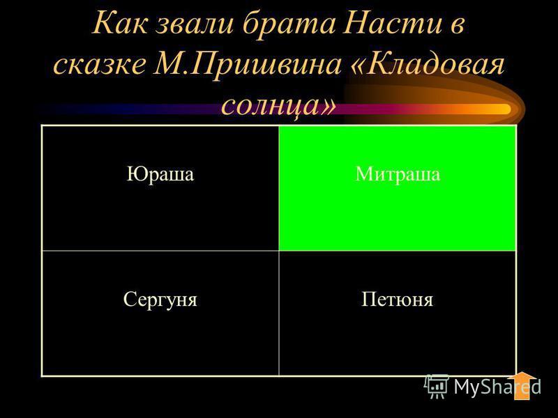 Как звали брата Насти в сказке М.Пришвина «Кладовая солнца» Юраша Митраша Сергуня Петюня