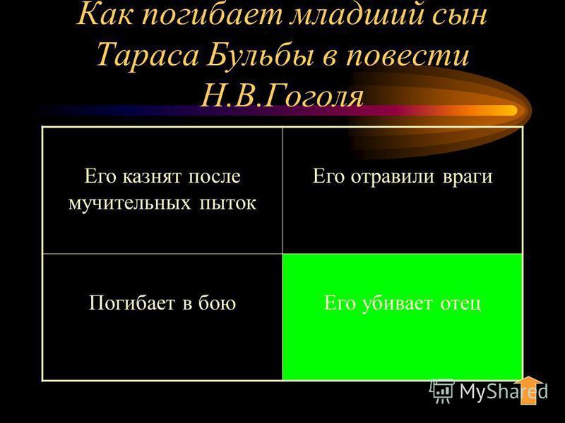 Как погибает младший сын Тараса Бульбы в повести Н.В.Гоголя Его казнят после мучительных пыток Его отравили враги Погибает в бою Его убивает отец