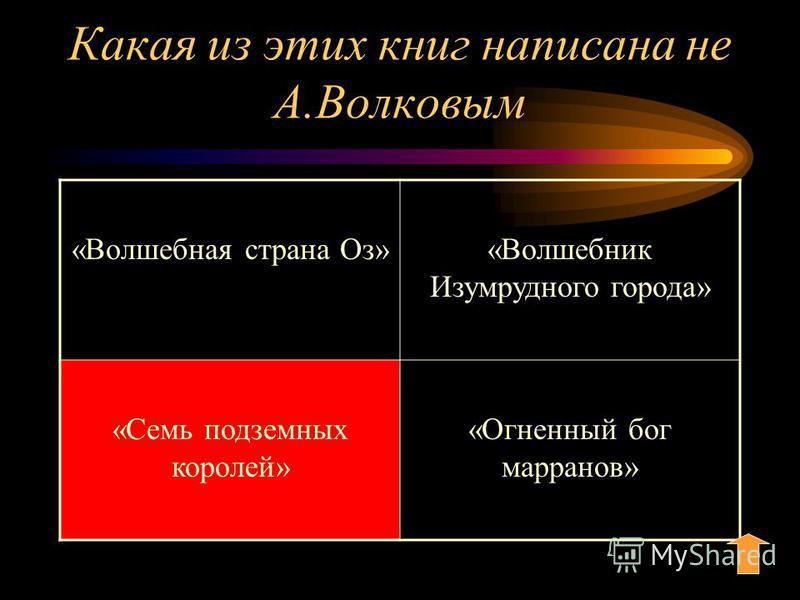 Какая из этих книг написана не А.Волковым «Волшебная страна Оз»«Волшебник Изумрудного города» «Семь подземных королей» «Огненный бог маранов»