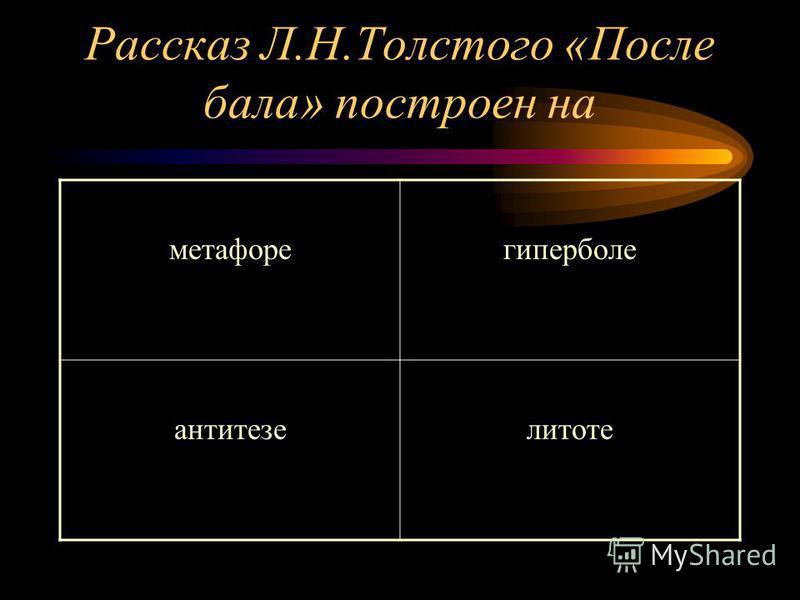 Рассказ Л.Н.Толстого «После бала» построен на метафорегиперболе антитезелитоте
