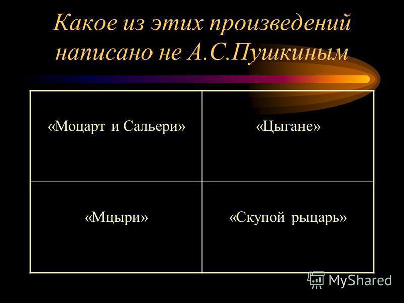 Какое из этих произведений написано не А.С.Пушкиным «Моцарт и Сальери»«Цыгане» «Мцыри»«Скупой рыцарь»