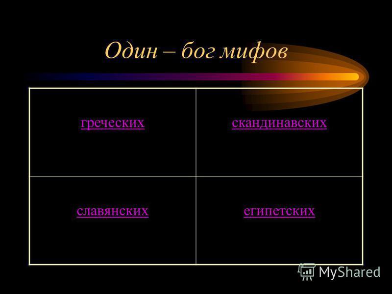 Один – бог мифов греческих скандинавских славянских египетских