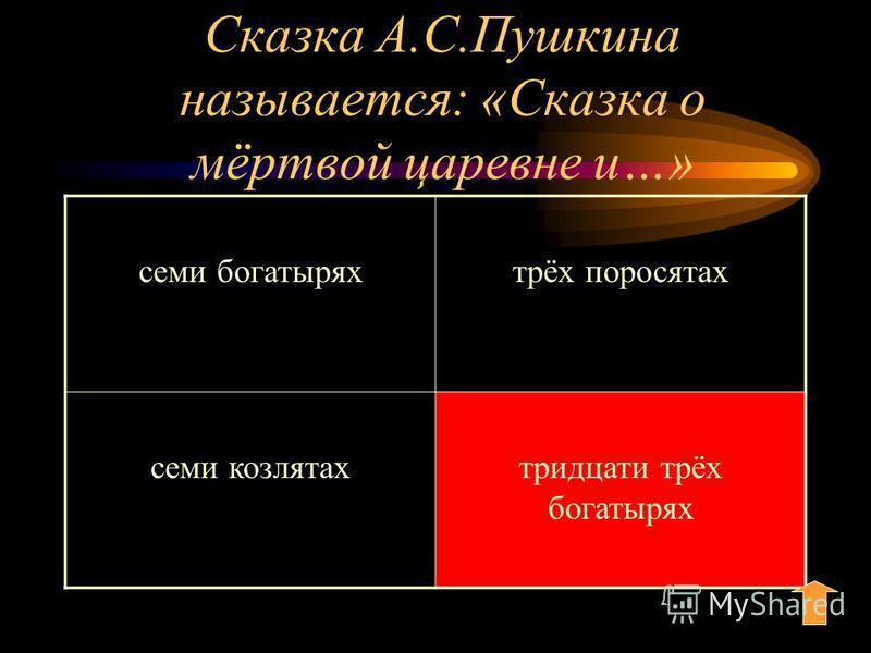 Сказка А.С.Пушкина называется: «Сказка о мёртвой царевне и…» семи богатырях трёх поросятах семи козлятах тридцати трёх богатырях