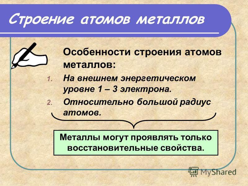 Строение атомов металлов Особенности строения атомов металлов: 1. На внешнем энергетическом уровне 1 – 3 электрона. 2. Относительно большой радиус атомов. Металлы могут проявлять только восстановительные свойства.
