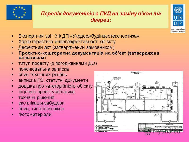 Перелік документів в ПКД на заміну вікон та дверей: Експертний звіт ЗФ ДП «Укрдержбудінвестекспертиза» Характеристика енергоефективності обєкту Дефектний акт (затверджений замовником) Проектно-кошторисна документація на обєкт (затверджена власником)