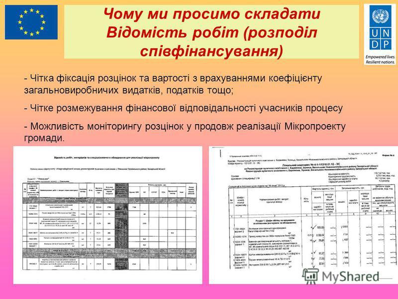 Чому ми просимо складати Відомість робіт (розподіл співфінансування) - Чітка фіксація розцінок та вартості з врахуваннями коефіцієнту загальновиробничих видатків, податків тощо; - Чітке розмежування фінансової відповідальності учасників процесу - Мож