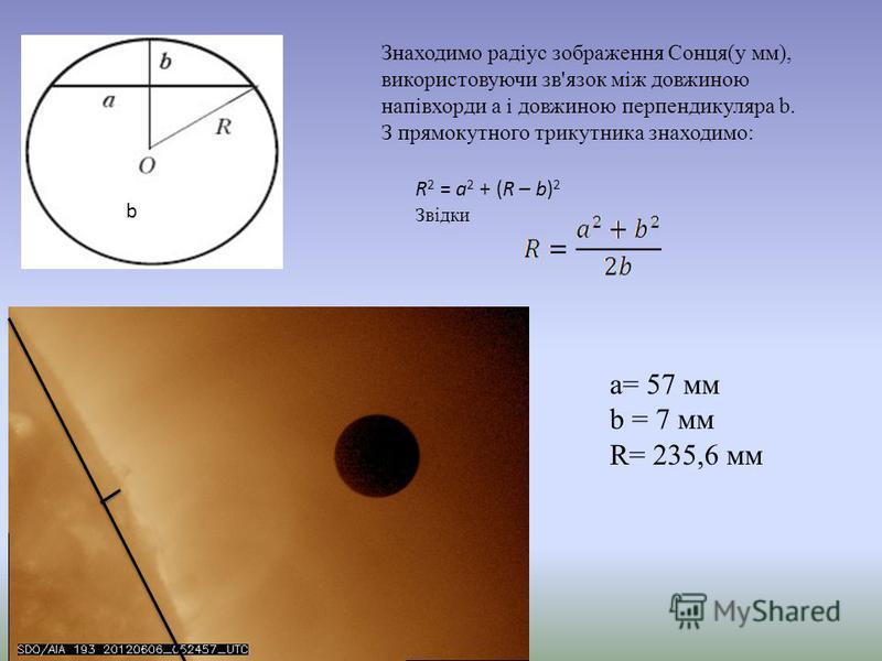 Знаходимо радіус зображення Сонця(у мм), використовуючи зв'язок між довжиною напівхорди а і довжиною перпендикуляра b. З прямокутного трикутника знаходимо: R 2 = a 2 + (R – b) 2 Звідки a= 57 мм b = 7 мм R= 235,6 мм b
