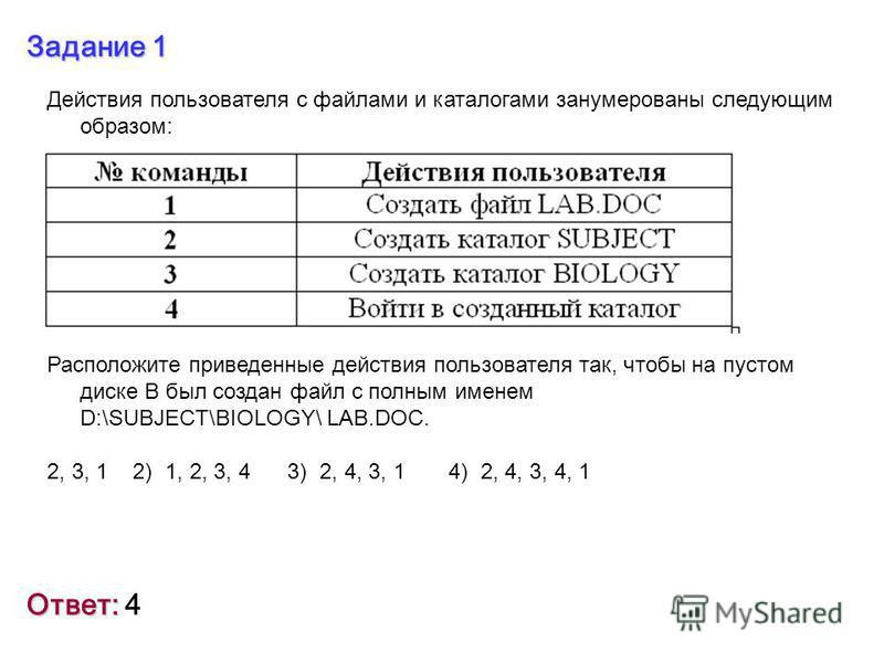 Задание 1 Действия пользователя с файлами и каталогами занумерованы следующим образом: Расположите приведенные действия пользователя так, чтобы на пустом диске В был создан файл с полным именем D:\SUBJECT\BIOLOGY\ LAB.DOC. 2, 3, 1 2) 1, 2, 3, 4 3) 2,