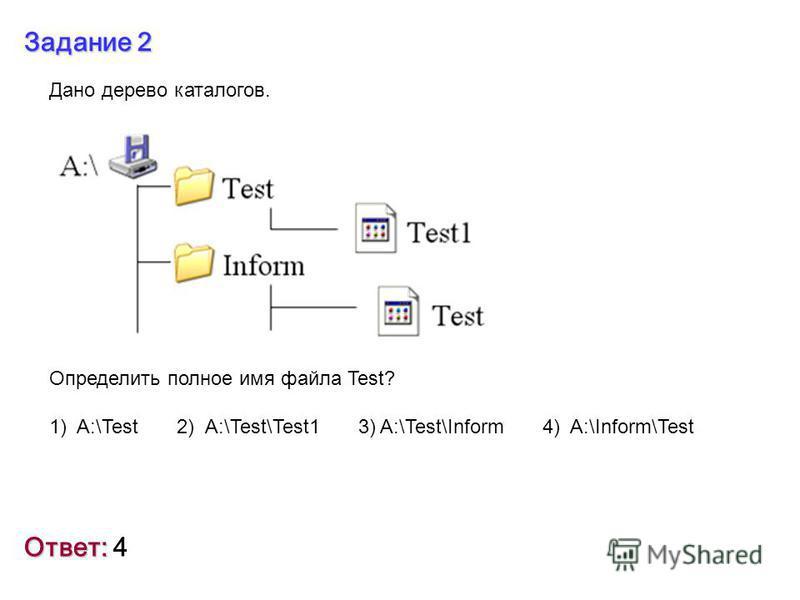 Задание 2 Ответ: Ответ: 4 Дано дерево каталогов. Определить полное имя файла Test? 1) A:\Test 2) A:\Test\Test1 3) A:\Test\Inform 4) A:\Inform\Test