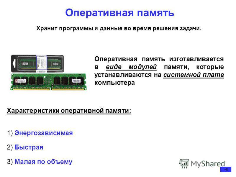 Оперативная память Характеристики оперативной памяти: 1) Энергозависимая 2) Быстрая 3) Малая по объему Оперативная память изготавливается в виде модулей памяти, которые устанавливаются на системной плате компьютера Хранит программы и данные во время