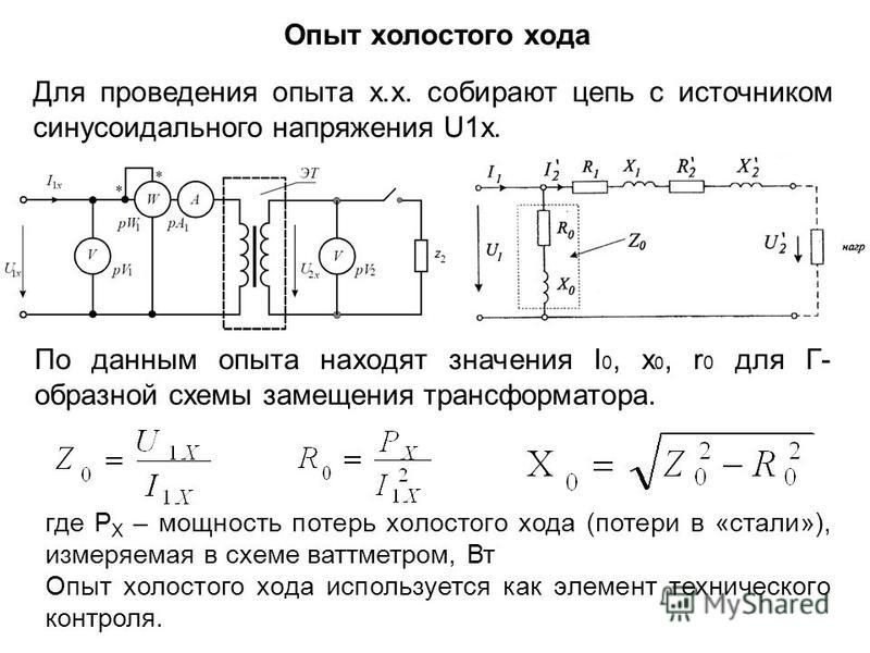 Опыт холостого хода Для проведения опыта х.х. собирают цепь с источником синусоидального напряжения U1x. По данным опыта находят значения I 0, x 0, r 0 для Г- образной схемы замещения трансформатора. где P X – мощность потерь холостого хода (потери в