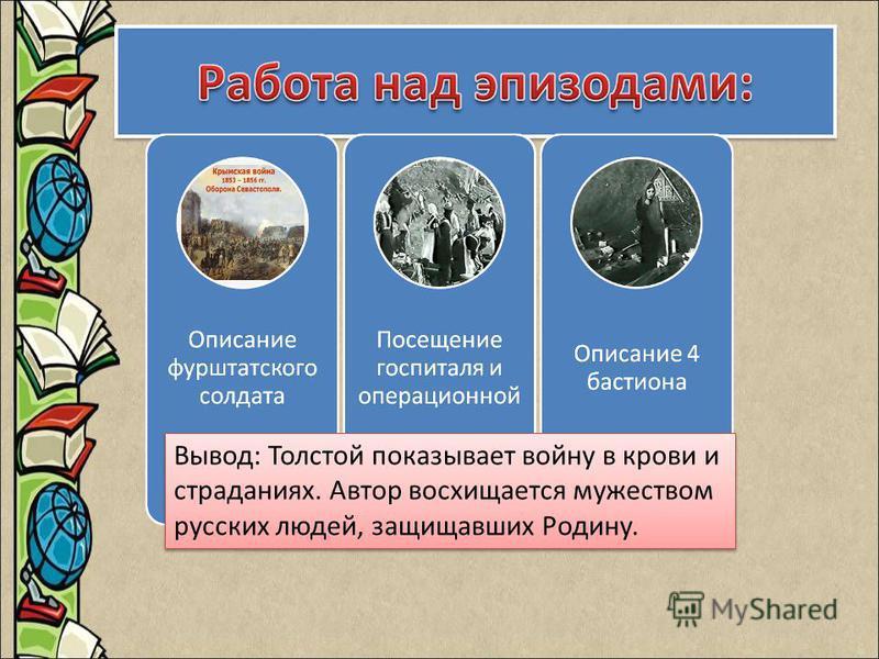 Вывод: Толстой показывает войну в крови и страданиях. Автор восхищается мужеством русских людей, защищавших Родину.