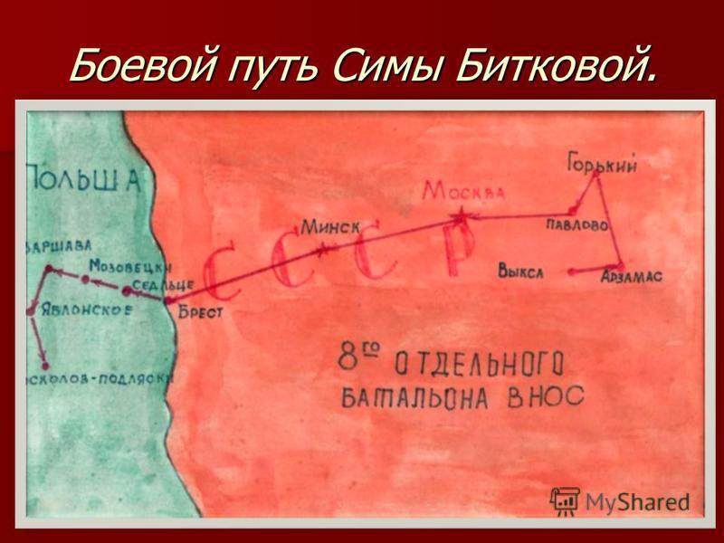 Боевой путь Симы Битковой.