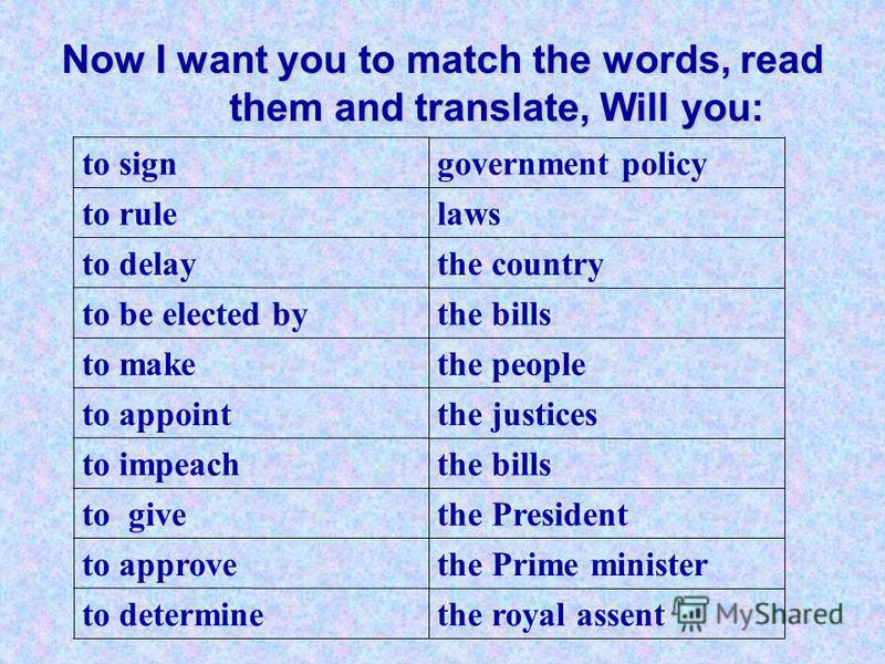 Now I want you to match the words, read them and translate, Will you: the royal assentto determine the Prime ministerto approve the Presidentto give the billsto impeach the justicesto appoint the peopleto make the billsto be elected by the countryto