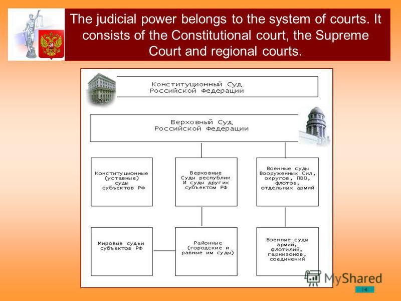 The judicial power belongs to the system of courts. It consists of the Constitutional court, the Supreme Court and regional courts.